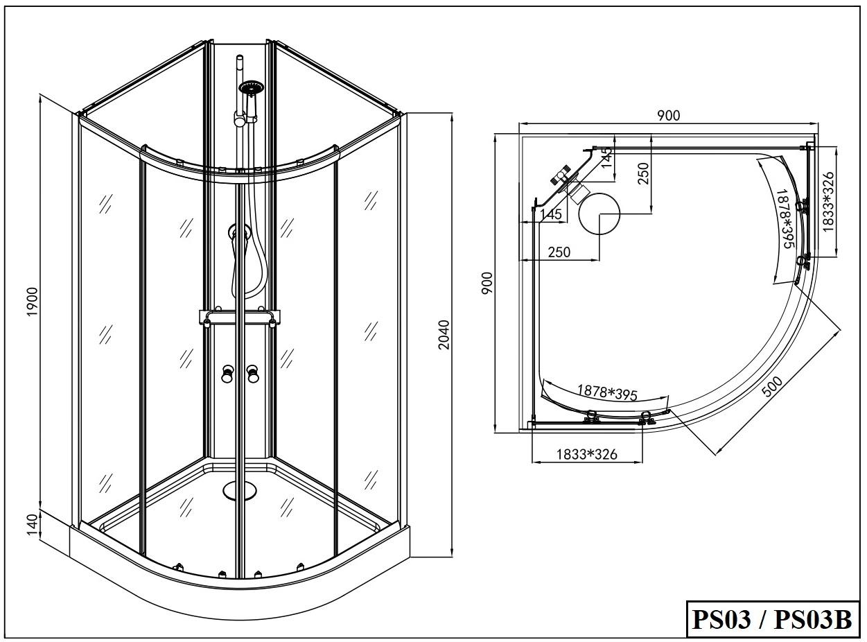Sanotechnik - RIO - sprchový box - štvrťkruh bez strechy - 90x90x203 cm